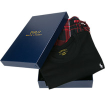Schlafanzug Pyjama, Baumwolle, schwarz-feuerrot