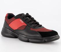 Schuhe Sneaker, Leder-Textil, schwarz-