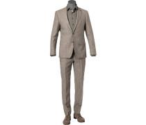 Anzug, Slim Fit, Leinen,  meliert