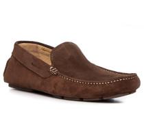 Schuhe Mokassins, Veloursleder, haselnuss