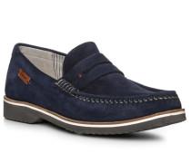 Schuhe Loafer, Kalbveloursleder, tiefsee