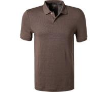 Polo-Shirt, Body Fit, Leinen, nougat
