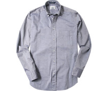Hemd, Regular Fit, Baumwolle, navy-weiß meliert