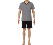 Schlafanzug Pyjama, Baumwolle, -grau gemustert