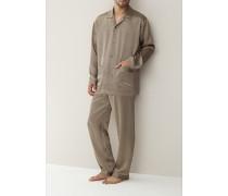 Schlafanzug Pyjama, Seide, schwarz-gold