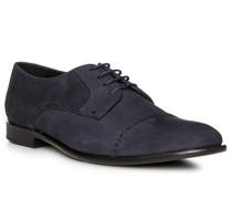 Schuhe Brogue, Veloursleder, blu scuro