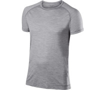 T-Shirt, Regular Fit, Wolle-Seide, hell meliert
