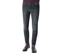 Cordhose, Tapered Fit, Baumwolle, anthrazit