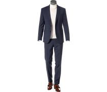 Anzug, Slim Fit, Wolle, marine kariert