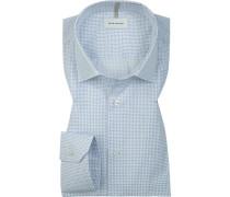 Hemd, Shaped Fit, Popeline, weiß- gemustert