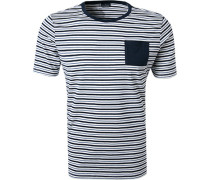 T-Shirt, Baumwolle, -weiß gestreift