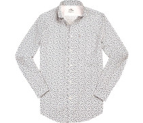 Hemd, Regular Fit, Popeline, weiß- gemustert