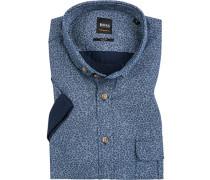 Kurzarmhemd, Slim Fit, Twill, jeans-weiß gemustert