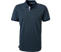 Polo-Shirt, Baumwoll-Piqué, navy gemustert