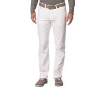 Jeans, Regular Fit, Baumwoll-Leinen-Stretch