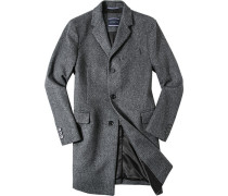 Mantel, Woll-Mix, dunkel- gemustert