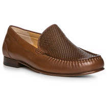 Schuhe Slipper, Lammleder, cognac