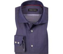 Hemd, Tailored Fit, Baumwolle, indigo meliert