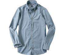 Hemd, Baumwolle, jeans gemustert