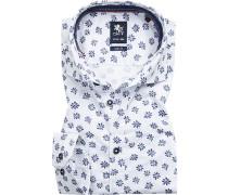 Hemd, Slim Fit, Baumwolle, weiß-dunkel gemustert