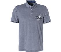 Polo-Shirt, Baumwoll-Piqué, navy meliert