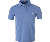 Polo-Shirt, Slim Fit, Baumwoll-Pique, himmel