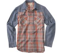 Langarmhemd, Baumwolle, jeansblau, rost