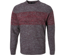 Pullover, Modern Fit, Wolle, bordeaux meliert
