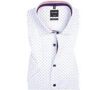 Hemd, Modern Fit, Popeline, weiß-rot gepunktet