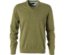 Pullover, Modern Fit, Baumwolle, oliv meliert