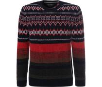 Pullover, Lammwolle, rot-dunkel gemustert