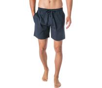 Schlafanzug Pyjamashorts, Baumwoll-Jersey, marine