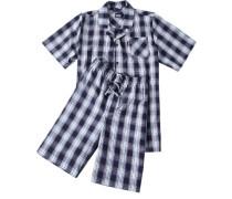 Schlafanzug Pyjama, Baumwolle, navy-weiß kariert