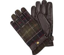Handschuhe, Leder-Wolle, grün- kariert