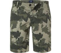 Hose Shorts, Baumwolle, khaki-oliv gemustert