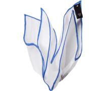Accessoires Einstecktuch, Leinen, weiß-himmelblau