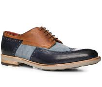 Schuhe Budapester, Leder-Textil, azzurro-cuoio