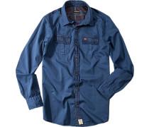 Hemd, Regular Fit, Twill, Druck und Stickerei hinten
