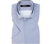 Kurzarmhemd, Slim Fit, Popeline, -weiß gemustert