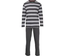 Schlafanzug Pyjama, Baumwolle,  gestreift
