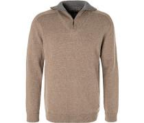 Pullover Troyer, Baumwolle,  meliert