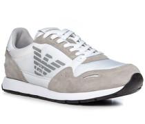 Schuhe Sneaker, Veloursleder-Textil, -hellgrau