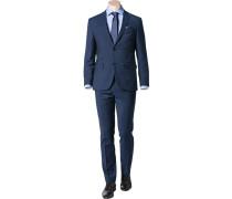 Anzug, Modern Fit, Schurwolle, dunkel kariert