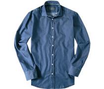 Hemd, Modern Fit, Baumwolle, indigo