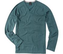 Pullover, Slim Fit, Baumwolle, petrol