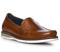 Schuhe Mokassins, Lammleder, cognac