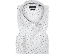 Hemd, Slim Fit, Popeline, off-white gemustert