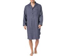 Nachthemd, Baumwolle, navy gemustert
