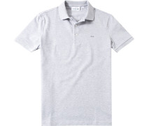 Polo-Shirt, Slim Fit, Baumwoll-Piqué, hell meliert