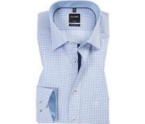Hemd, Modern Fit, Popeline, blau- gemustert